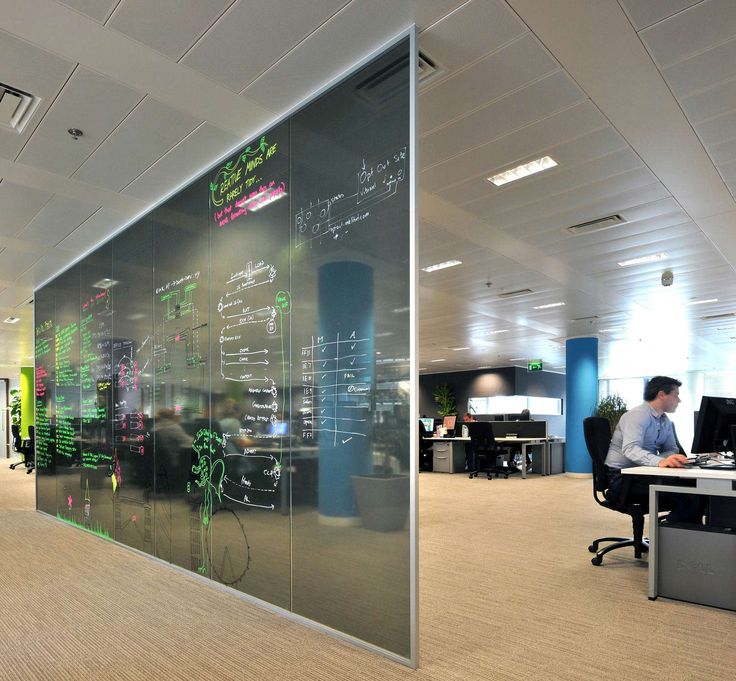 incorporating writable walls into your office design is a great way to encourage collaboration at work - Modern Office Design Ideas