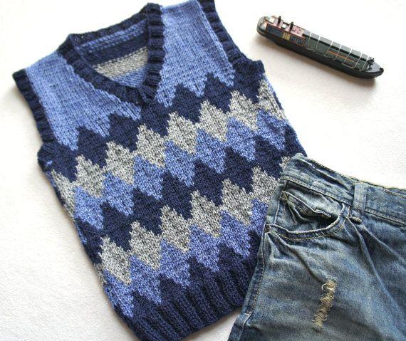 Children hand knitted wool vest, Knitted Toddler Vest, Boy blue grey vest, Tank top for boy