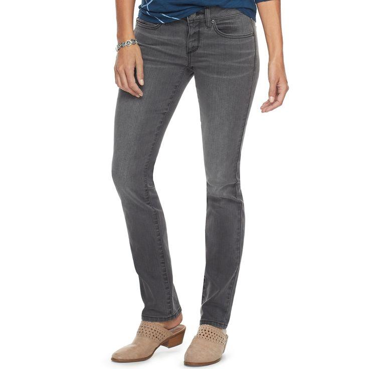 Women's SONOMA Goods for Life™ Slim Straight Leg Jeans, Size: 8 - regular, Med Grey
