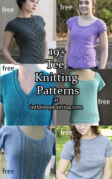 Knitting patterns for Tee short sleeve tops, most patterns are free