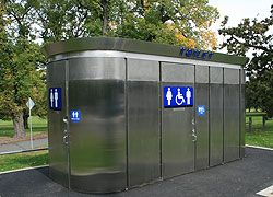 Steel-clad public toilet in a park