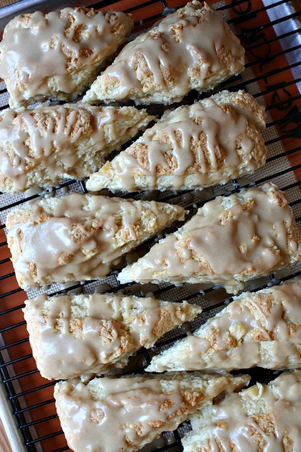 Caramel Apple Scones. These are tender scones with fresh cinnamon apples, and there's a caramel icing drizzled generously on top.