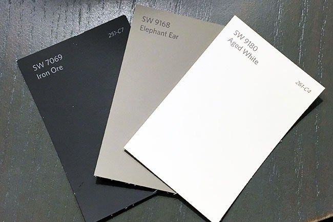 The paint scheme for our exterior. Sherwin Williams Elephant Ear, Iron Ore, and Aged White. Super neutral but elegant exterior paint color scheme. | Jolly Little Times | http://jollylittletimes.com/2016/09/05/painting-aluminum-siding-paint-sprayer/