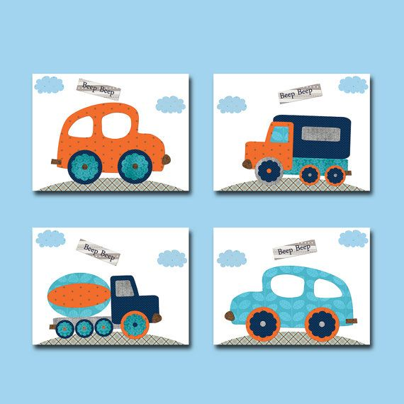 Car Nursery Lorry nursery Baby Boy Nursery decor by artbynataera, $60.00