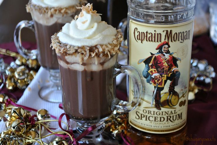 Hot Choc-Colada- homemade hot chocolate paired with pina colada #captainmorgan #spiceuptheholidays www.shugarysweets.com