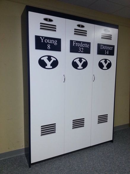 BYU Sports Locker murphy bed. A good idea for disguising a Murphy bed. Fun
