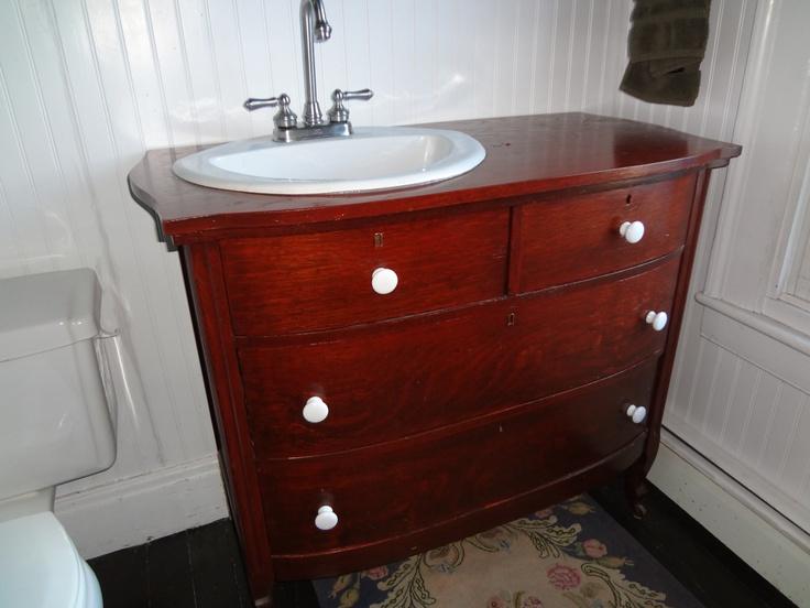 bureau dresser made into vanity bathroom pinterest. Black Bedroom Furniture Sets. Home Design Ideas