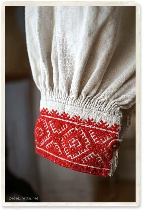 ルーマニア アンティークシャツ刺繍 - 【Belle Lurette】ヨーロッパ フランス アンティークレース リネン服の通販