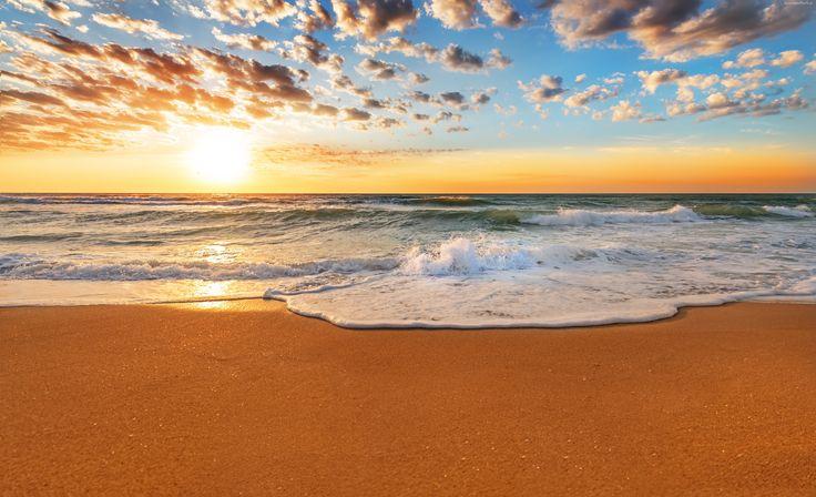 Morze, Wschód słońca, Chmury, Niebo