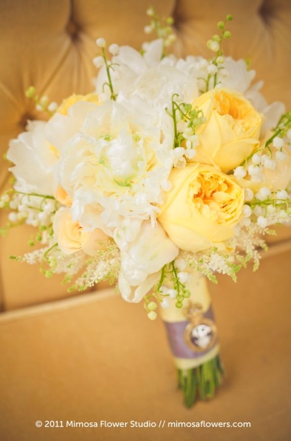 Love the idea of yellow/lemon flowers with a light green dress. Think it would work