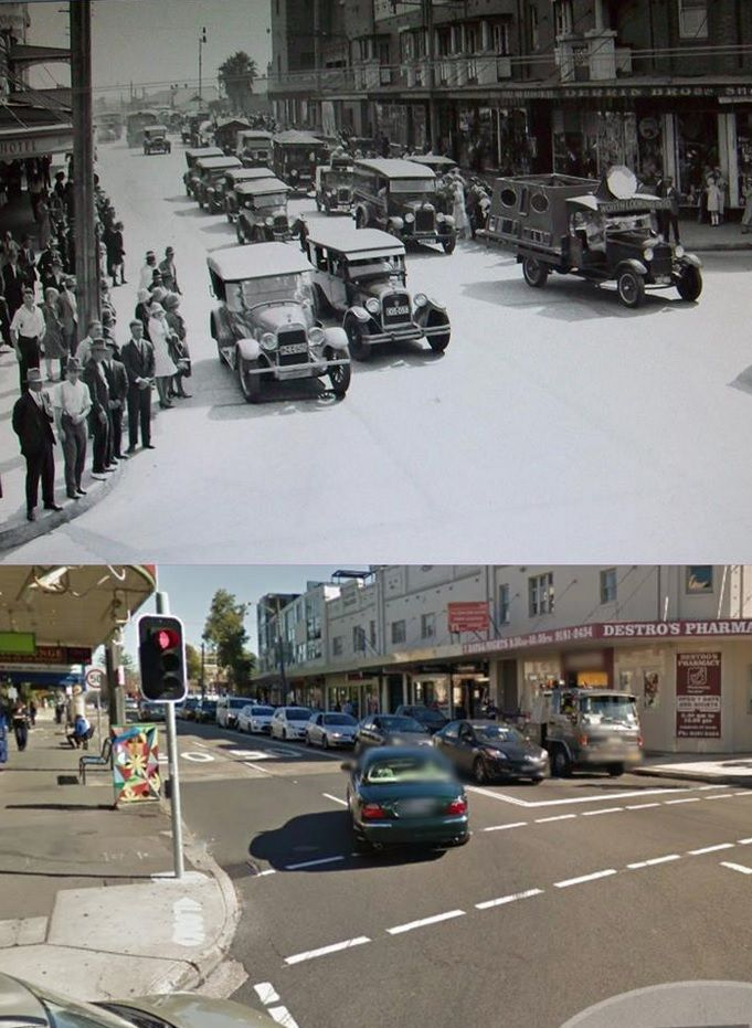 The corner of Lyons Road and Victoria Road, Drummoyne in 1927 and 2014. The 1927 photo appears to show a parade. [1927 - Trove/2014 - Google Street View. By Phil Harvey]