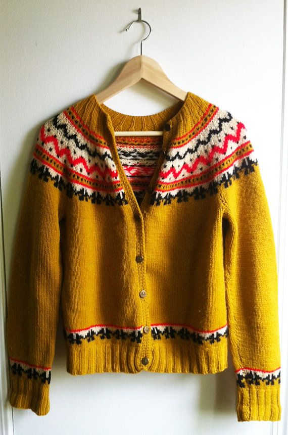 Vintage mustard cardigan with zig zag print by ohsolovelyvintage