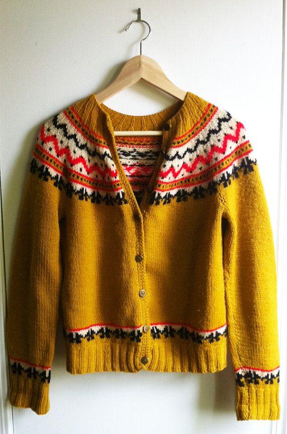 Fair Isle mustard cardigan