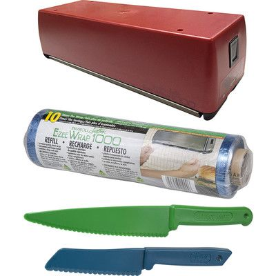 Looking at 'RED EZ wrap Dispenser with extra 1000' refill, Lettuce Knife, and Bakeware Knife' on SHOP.CA