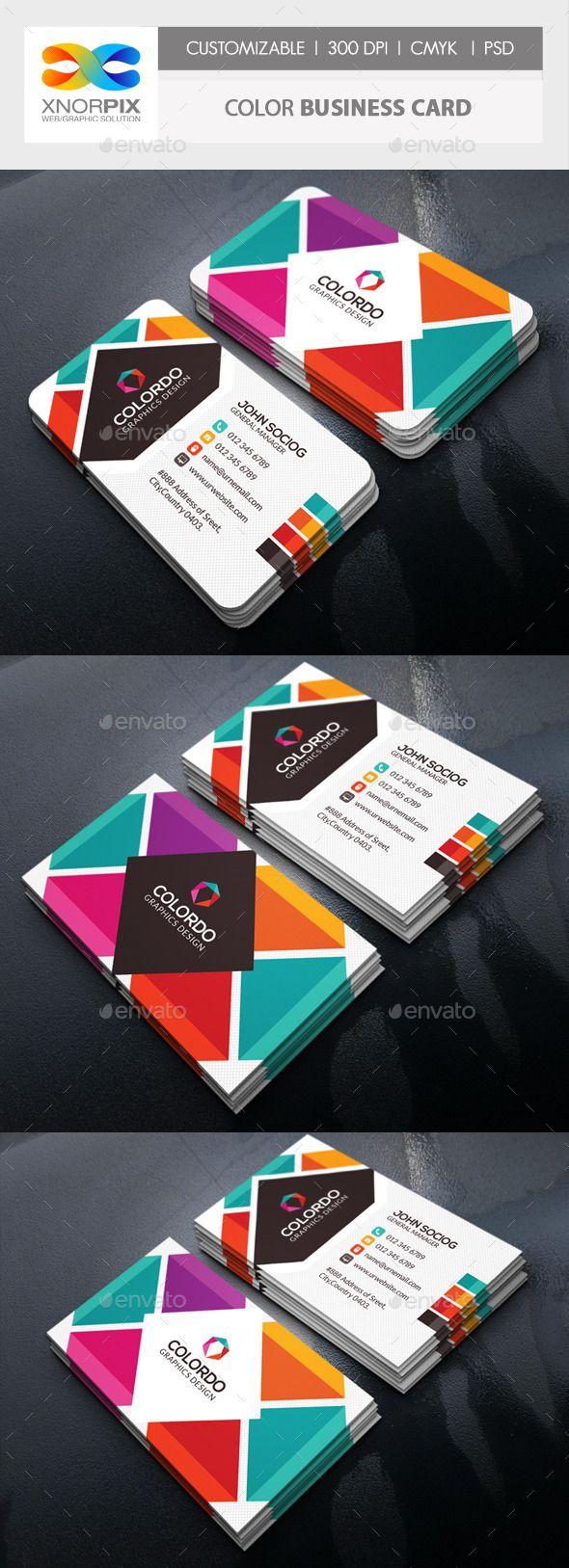 Color Business Card Template PSD #design Download: http://graphicriver.net/item/color-business-card/13547275?ref=ksioks