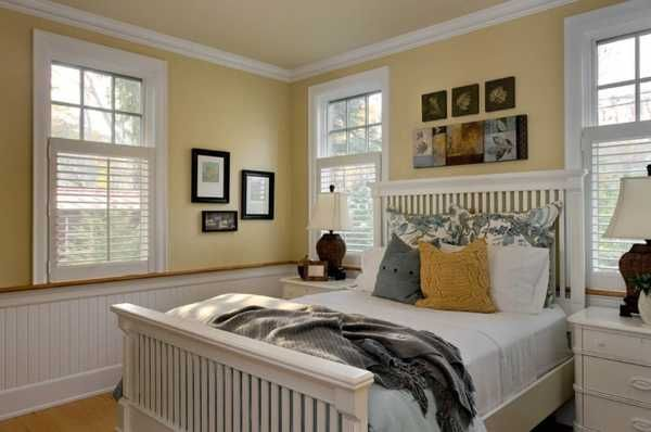 white bedding and yellow paint for bedroom decorating
