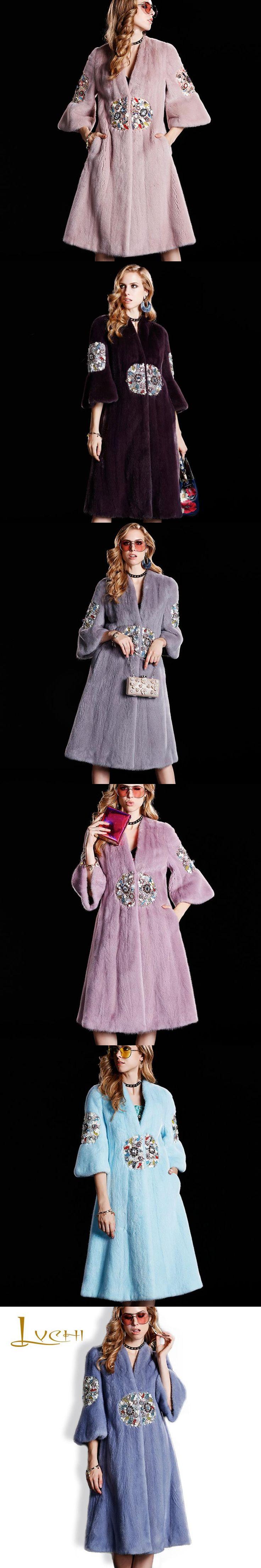 LVCHI Imported Platinum Velvet Mink Fur tunic Coats Round Print Diamond Fashion Fur Topcoat Winter Women's Clothing Real Fur