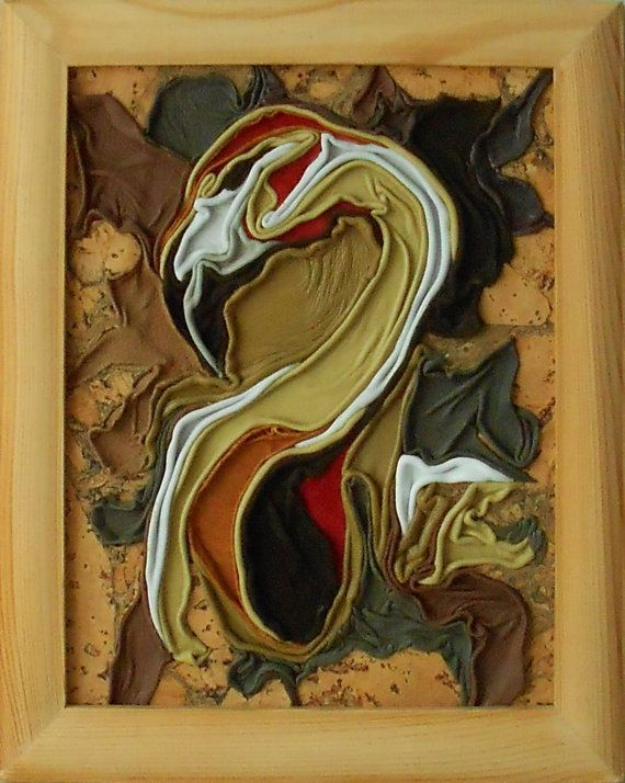 Flamingo, leather and cork picture, wood framed, handmade