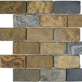"""Found it at Wayfair - 4"""" x 2"""" Slate Tumbled / Polished Mosaic in California Rustic"""