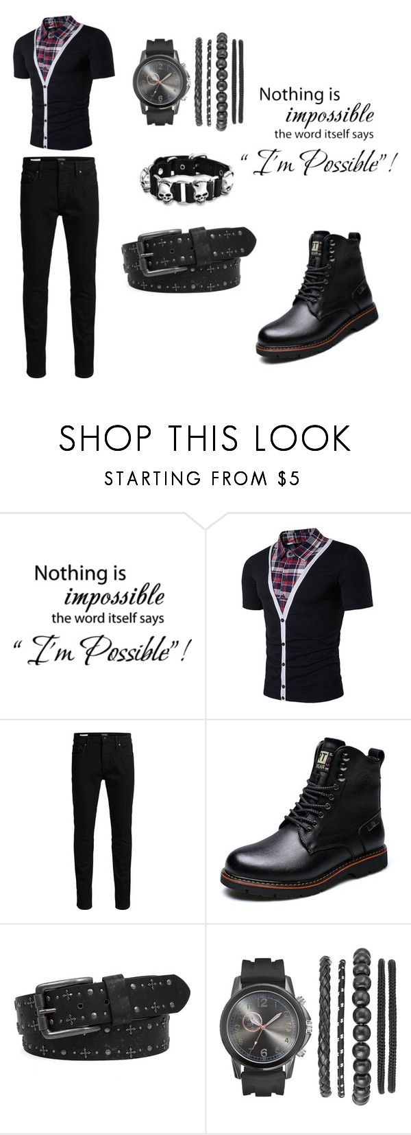 """""""Untitled #106"""" by ziadvil on Polyvore featuring WALL, Jack & Jones, BKE, Bling Jewelry, men's fashion and menswear"""