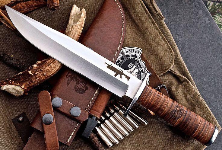 CFK USA Custom Handmade D2 Tool US USMC MARINES Combat Fighter Bowie Camp Knife