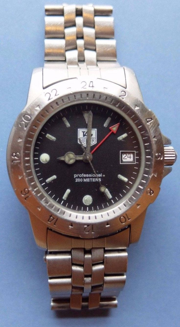 Vintage TAG HEUER Professional - 159 306 Mens Watch (Submariner)  200M  all Stainless Steel by FromDECOtoDISCO on Etsy