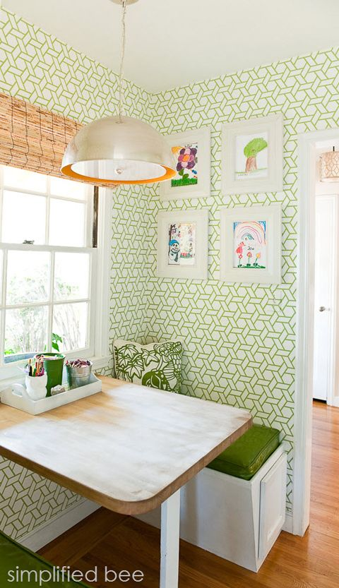 Kitchen nook by Cristin of the Simplified Bee blog. Trellis wallpaper: Manuel…