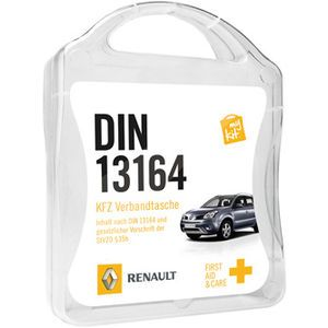 The MyKit DIN 13164 includes 4x First Aid Dresings, 3x Burn Dressings, 3x Wound Compress, 5x Elastic Bandages, 1x Scissors, 1x First Aid Gui...