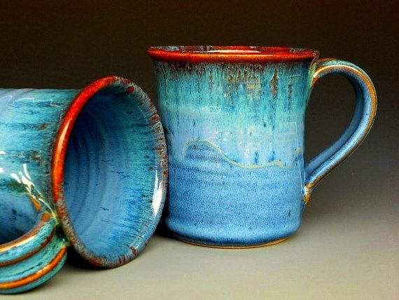 Blue Mug  Ceramic Coffee Mug by darshanpottery on Etsy, $20.00