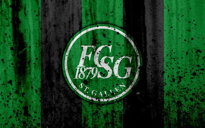 Download wallpapers FC St Gallen, FC, 4K, logo, stone texture, grunge, Switzerland Super League, football, emblem, St Gallen, Switzerland