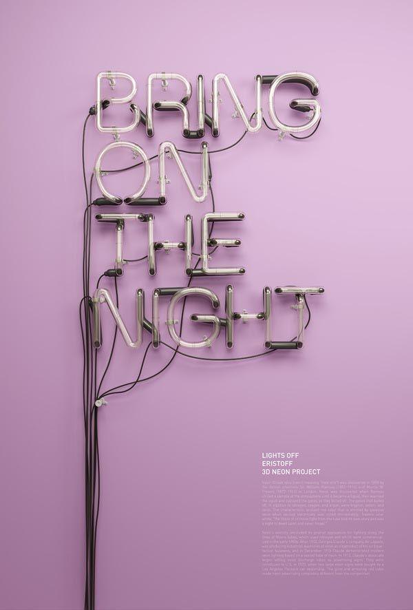 3D Neon Headline Visuals by by Rizon Parein for an Eristoff Vodka Campaign