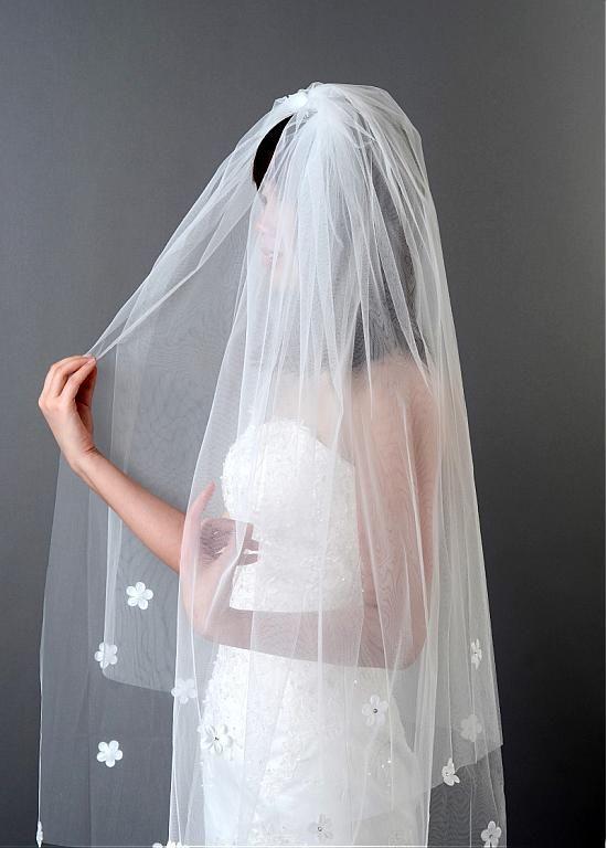 На складе Красивый белый тюль двухуровневую свадебная фата с расческой