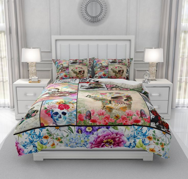 Sugar Skull Bedding, Comforter Set, Duvet Cover, Pillows Shams, Bedding Set, Skull Collage