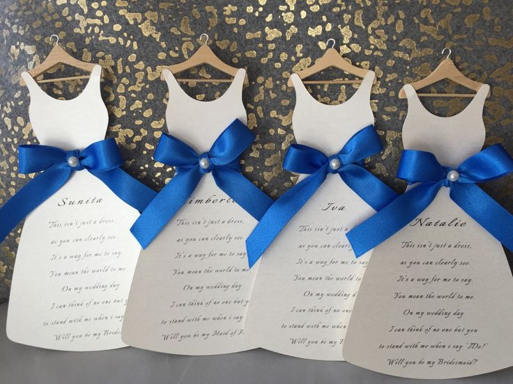 Bridesmaid Dress Card Will You Be My Cardsroyal Blue Invitationswedding