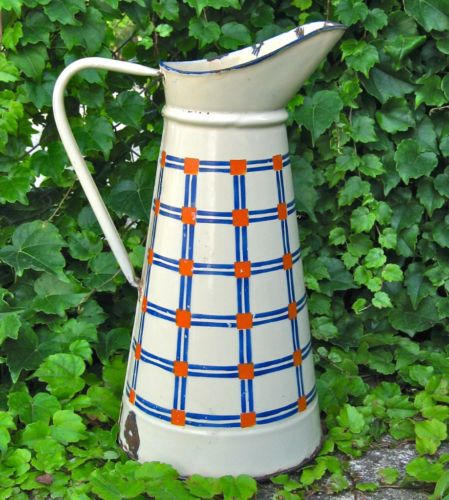 Vintage French Art Deco Enamel Enamelware Body Pitcher, Blue & Orange Plaid