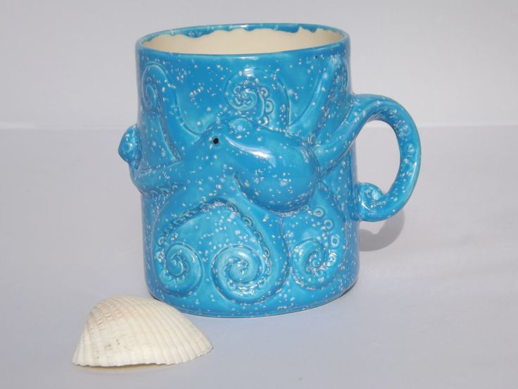 Blue Octopus Squid Tentacles Mug Handmade Ceramic from my Charleston, SC Studio - pinned by pin4etsy.com
