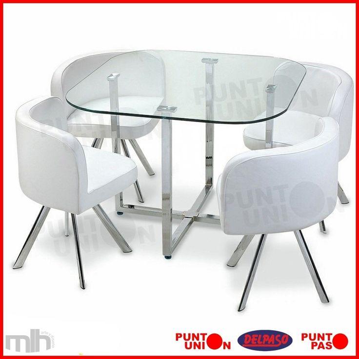 Juego de comedor 4 butacas mesa de vidrio varios colores for Mesas de comedor de vidrio