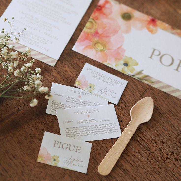 mariage champtre rtro voyage rose aquarelle fleur etiquette personnalise confiture - Etiquette Mariage Personnalise