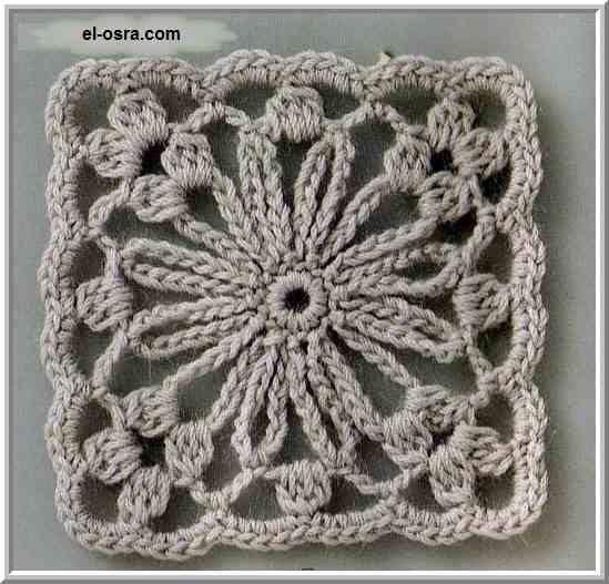 Nice flower crochet square with diagram