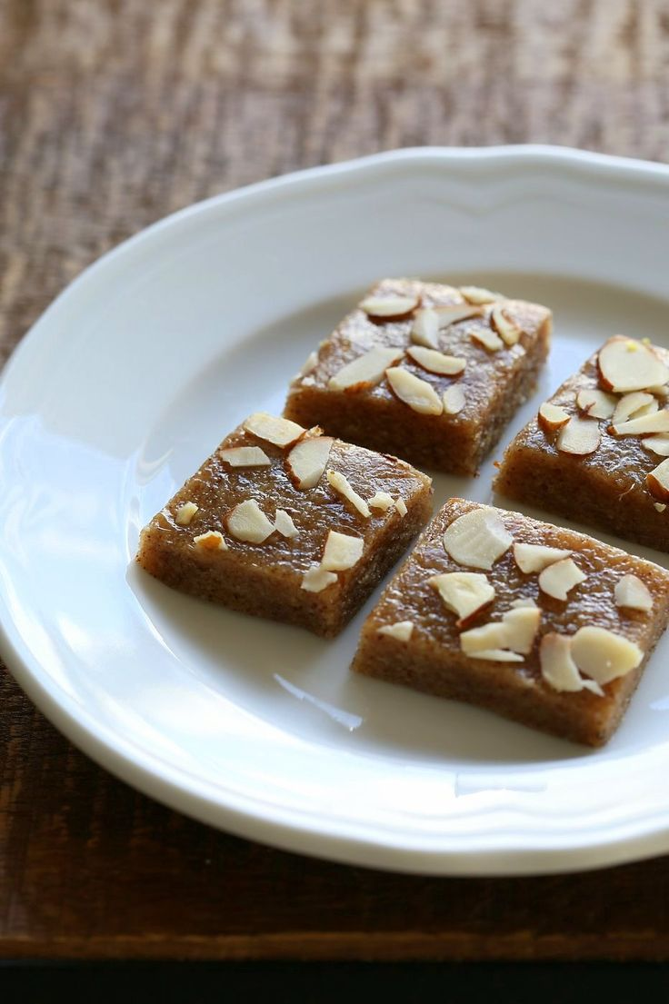 15 min Almond fudge with Cardamom and Basundi - thickened milk with saffron and nuts.
