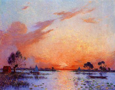 Ferdinand du Puigaudeau (French, 1864-1930) - Sunset in Briere, 1925