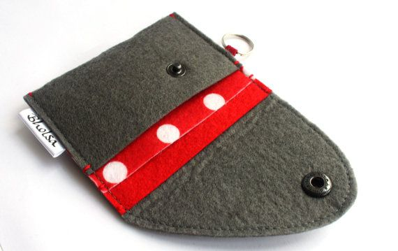 Card Organizer Wallet with keyring - Polka Dots Felt via Etsy