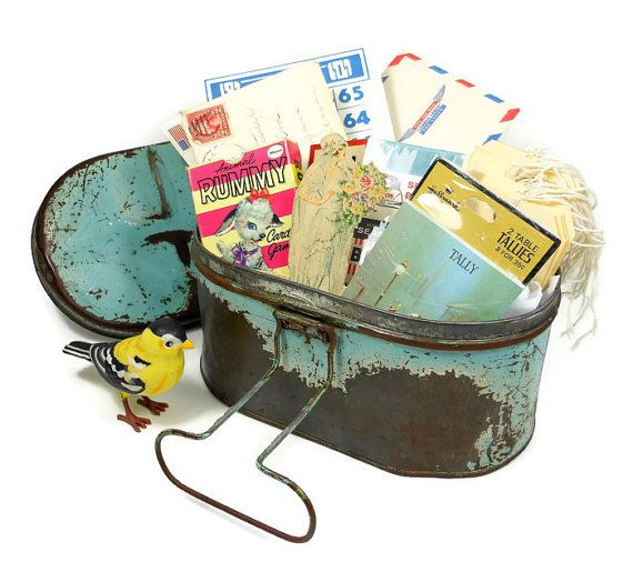 Vintage Lunch Box Blue Metal Mid CenturyTote Retro Home Storage Industrial Collectible PeachyChicBoutique on Etsy on Etsy, $22.00