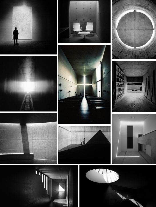 Tadao Ando - Pinned by www.modlar.com  Lighting idea at shadows and lamps