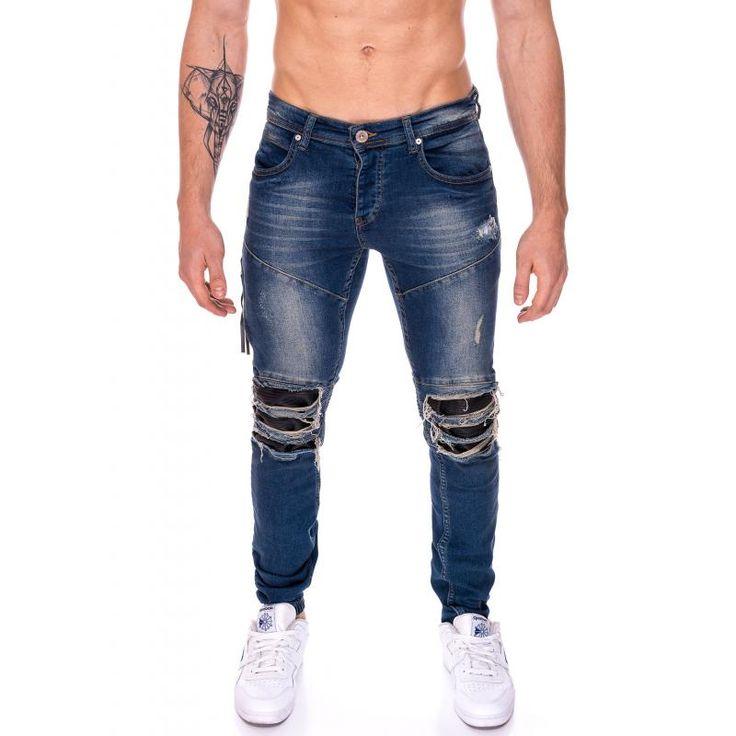 Pánske jogger nohavice jeansové (džínsové) modré