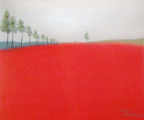 pieter van der westhuizen - tree lined red land