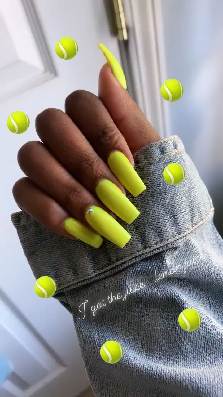 Lemon Juice Video Neon Nails Best Acrylic Nails Pretty Acrylic Nails