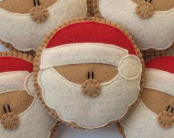 """4.25"""" Ronda Cookie Santa Santa ornamento ornamento-Santa Cookie-Navidad fieltro adornos-Santa cláusula árbol de ornamento de la navidad ornamento-Santa"""
