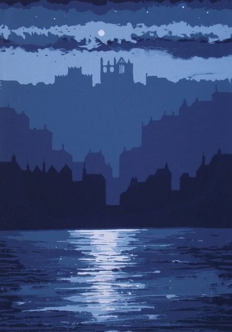 A multi layer hand-pulled original screen print of Whitby in North Yorkshire where Dracula lands in England in the book of the same name. The print shows Whtiby church and abbey. It is mounted, rea...