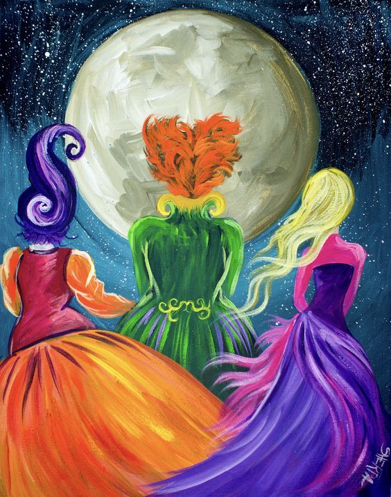 Beginners learn to paint full acrylic art lesson of the Sanderson Sisters from Hocus Pocus. this is a Great Wicked witches painting with a ton of sass. LIVE acrylic painting tutorial for new painters This is a super simple fun halloween Project